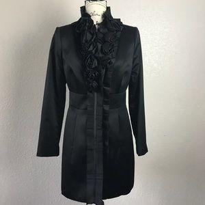 WHBM Black Rose Rosette Trench Coat